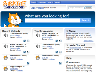 Eine Scratch-Mediensammlung im Internet: Scratch-Resources