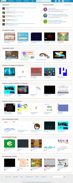 Scratch 2 0 homepage - noch beta - geScreenShottet am 5 Mai 2013.png